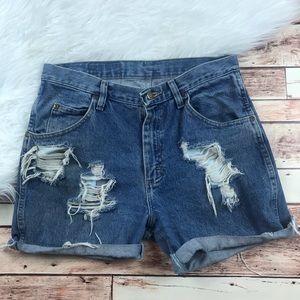 Wrangler cut off hi waisted denim shorts